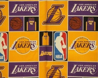 Los Angeles Lakers Basketball Checkered Sheeting Fabric Cotton 4 Oz 44-45""