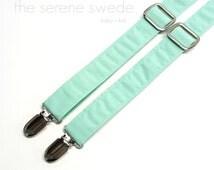 Mint Baby Suspenders / Mint Boy Suspenders / Mint Toddler Suspender / Mint Boy Braces / Mint Ring Bearer Suspenders / Mint Child Suspenders