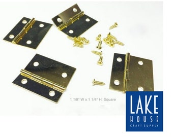 Brass Hinges. Assorted Hinges for woodworking, framing, crafts and more.