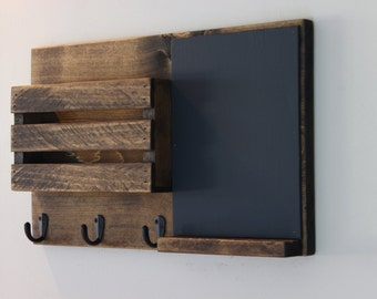 Chalkboard Mail Organizer, Mail Holder, Mail,  Rustic Organizer, Key Holder, Mail Organizer, Personalized Option Available