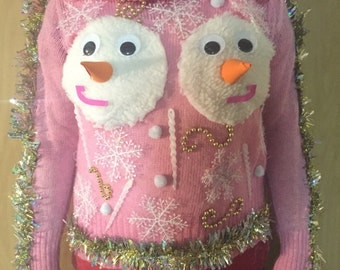 SEXY Hilarious Women's Vision in Pink Snowman Boobs Tacky Christmas Sweater Made to Order