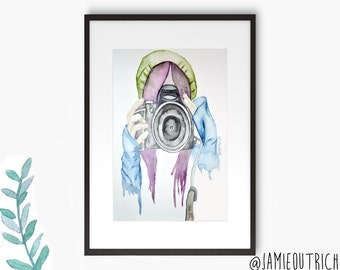 Girl With Camera Watercolor Print