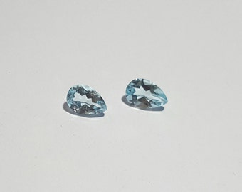 8 carat One Pair of 12 x 8 Pear shape Faceted Swiss Blue Topaz Gemstones for Earrings making:  LG2743
