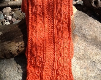 Deep orange cable knit scarf. Deep coral scarf. Burnt orange. Soft and lightweight scarf or shawl. Soft cable pattern