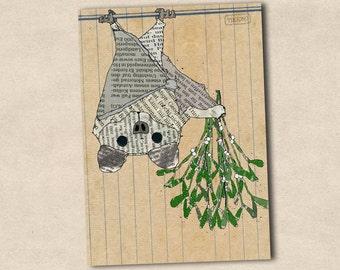 Postcard bat and mistletoe (P-37)