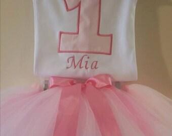 pink and white tutu set