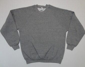 Heather Gray Raglan Sweatshirt Vintage 1980s L Soft Rayon Tri-Blend