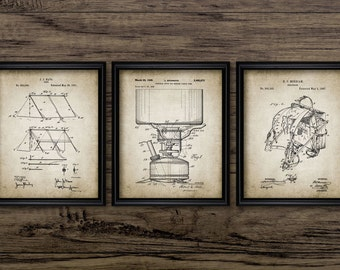 Camping Patent Print Set Of 3 - Tent - Camping Stove - Rucksack Design - Set Of Three Prints #502 - INSTANT DOWNLOAD