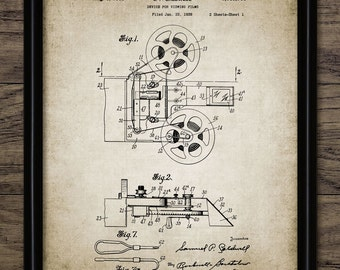 Vintage Movie Patent Print - 1939 Cinema Patent - Movie Projector Design - Film And Cinema - Single Print #798 - INSTANT DOWNLOAD