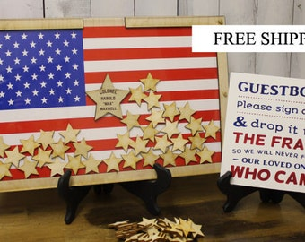 Personalized Guest Book/Flag/Patriotic/Large/Military/Retirement/Heart Drop Guest Book/Wood Shapes/Alternative/Unique/Wedding/Book Frame