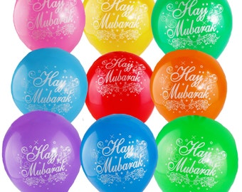 Hajj Mubarak Balloons & Banners | Large Double Sided Multi-coloured Quality Party Celebration Decoration Flags Bunting Cards Gifts Set