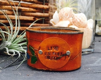 Upcycle painted cuff 'Live in Full Bloom'