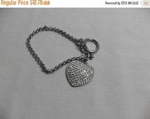 Big Sale Silver Rhinestone heart Bracelet, silver pave crystal rhinestones, retro gift for her, high fashion, GIngerslittlegems