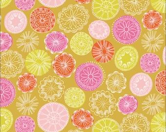 Cotton Fat Quarter Dashwood Cuckoos Calling Mustard Floral Fabric