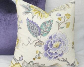 Lavender green Jacobean throw pillow cover 18x18 20x20 22x22 24x24 26x26 Euro sham purple lumbar pillow 12x24 14x24 14x26 16x24 16x26 Floral