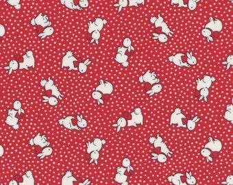 Bunnies - Dark Red (31280-30) by Lecien Cotton Fabric Yardage Floursack Retro Fabric