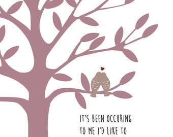 Personalised love birds tree print