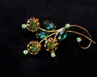 Beautiful Emerald Crystal Floral Brooch
