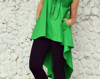 Extravagant Green Cotton Top / Green Summer Top / Funky Cotton Asymmetrical Top / Asymmetrical Summer Top / Green Tail Top TT88