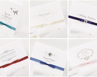 SAMPLE Folded Handmade Wedding Invitation & Stationery - Vintage Style Traditional