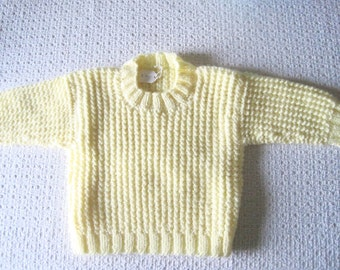 Yellow Baby Sweater, Pullover Size 3 Months, Knitted Baby Yellow Baby Sweater, Baby Girl Sweater or Baby Boy Sweater