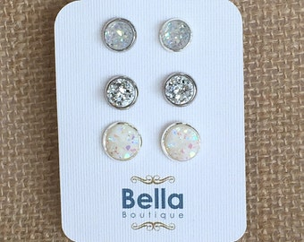 Stud Earring Set, Silver Earring Set, Druzy Earring Set, Druzy Studs, Silver Stud Earrings, Druzy Earring Sets, Druzy Stud Earrings, White