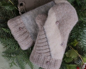 Lt. Tan/Gray/Cream Wool Mittens Made From Recycled Sweaters - X-Small-Child