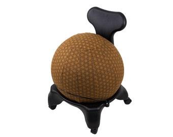 55cm Yoga Ball Cover, balance ball cover, exercise ball cover, fitness ball cover, physio ball cover - Chocolate Geometric Print