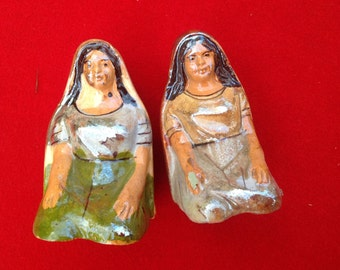 Vintage Indian Native American women salt and pepper shakers
