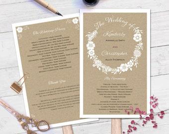 Printable Wedding Program Fan Template Download Instantly Rustic