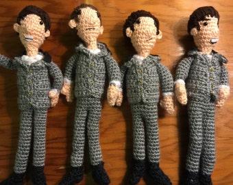 The Beatles crocheted dolls ( set of 4)