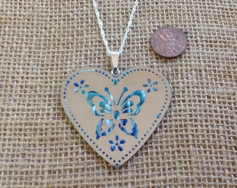 Handmade Stainless Steel and Polymer Clay Butterfly Heart Pendant