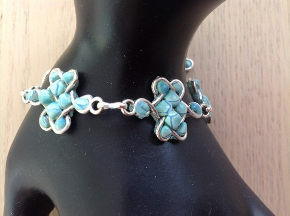 Handmade Silver and Polymer Clay Celtic Knot Bracelet