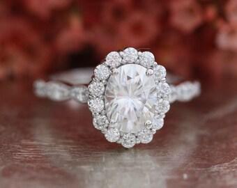 Forever One Moissanite Engagement Ring in 14k White Gold Halo Diamond Ring Scalloped Diamond Wedding Band 8x6mm Oval Cut Gemstone Ring