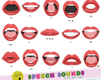 Speech Sounds Phoneme Mouth Clip Art Set