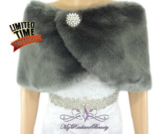 Faux Fur Wrap, Gray Faux Fur Stole, Fur Cape, Fuax Fur Shawl, Wedding Stole, Wedding fur Shrug, Bridal Fur Wrap, Bridal Stole, FW108-GRAY