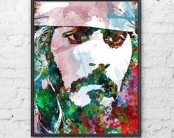Jack Sparrow print, Pirates of the Caribbean poster, Johnny Depp poster, art print, kids wall art, celebrity portrait, movie art - H192