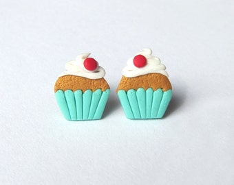 Polymer Clay Earrings, Miniature Food Earrings, Girls Earrings Jewelry, Mint Earrings, Cupcake Earrings, Kawaii Jewelry, Funny Earrings