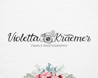 Premade Photography Logo , Camera Logo, Hand drawn logo