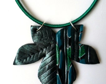 Abstract Clay Necklace - Maple Leaf Necklace