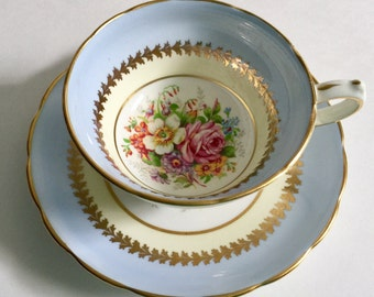 Hand Painted Copelands Grosvenor Tea Cup & Saucer