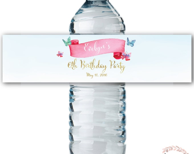 Water Bottle Labels // Butterfly // Watercolor // Water Wrap // Birthday // Printed or Printable // CORDOBA COLLECTION