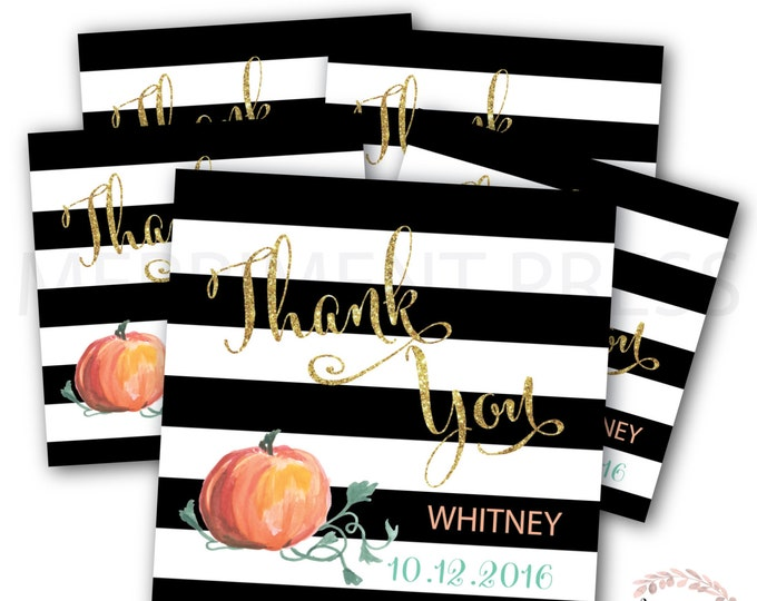 Favor Tags // Pumpkin // Watercolor // Gold Glitter // Black and White Stripes // Printed or Printable DIY // NANTUCKET COLLECTION