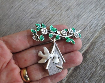 Vintage Danecraft White Peace Doves Silver Bird House Brooch, Love Birds Pin Holiday