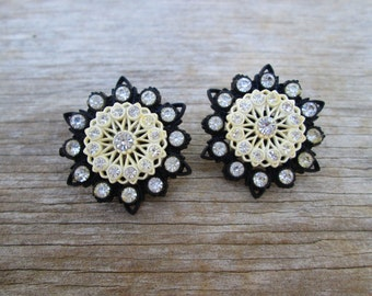 Vintage Black Cream Celluloid Lace Star Earrings,Art Deco Clip Back Rhinestone Earrings