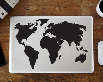 World Map Laptop Decal