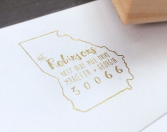 State Address Stamp- Calligraphy, Signature