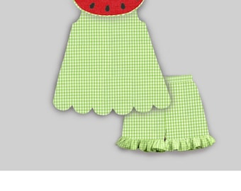 Watermelon short set   Girls short set. Gingham shorts