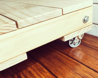 Plywood coffee table on casters