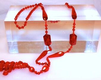 Fabulous Art Deco Bohemian BeadedTable Cut GlassRed Tassel Flapper Necklace